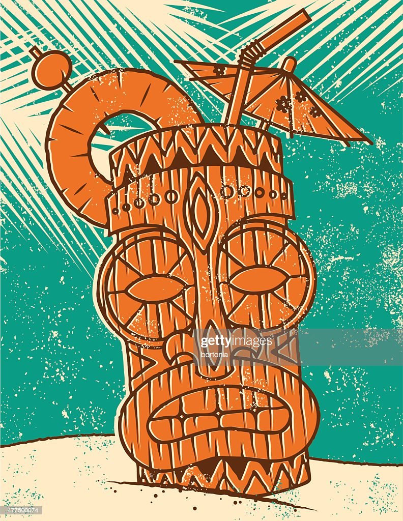 Retro Tropical Tiki Drink on the Beach Screen Print