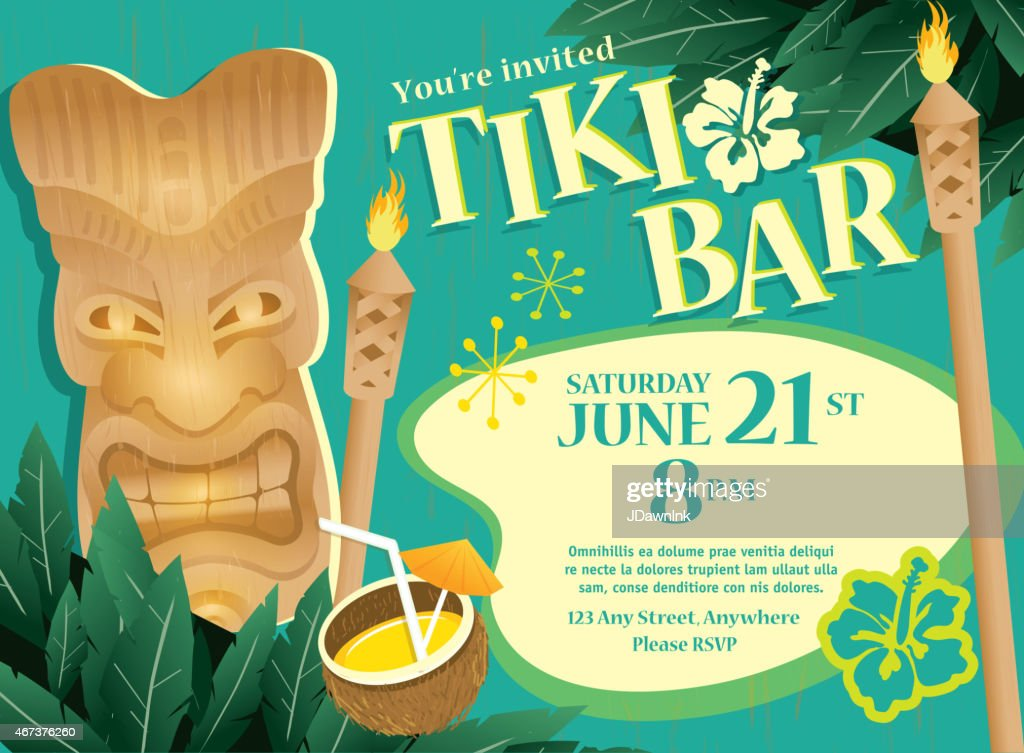 Retro turquoise Summer Tiki Bar Hawaiian party invitation design template