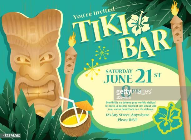 Retro turquoise Summer Tiki Bar Hawaiian party invitation design template