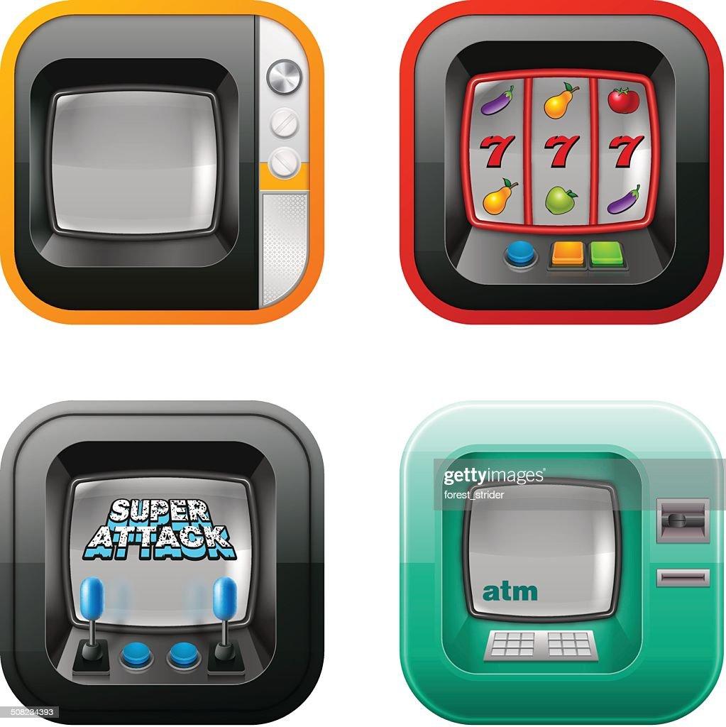 Retro tv, atm, and game machine icons
