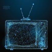 retro tv low poly blue