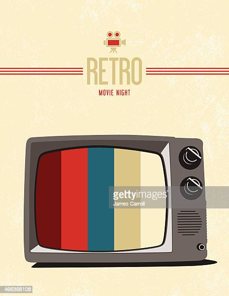 retro tv movie poster design - television industry stock illustrations