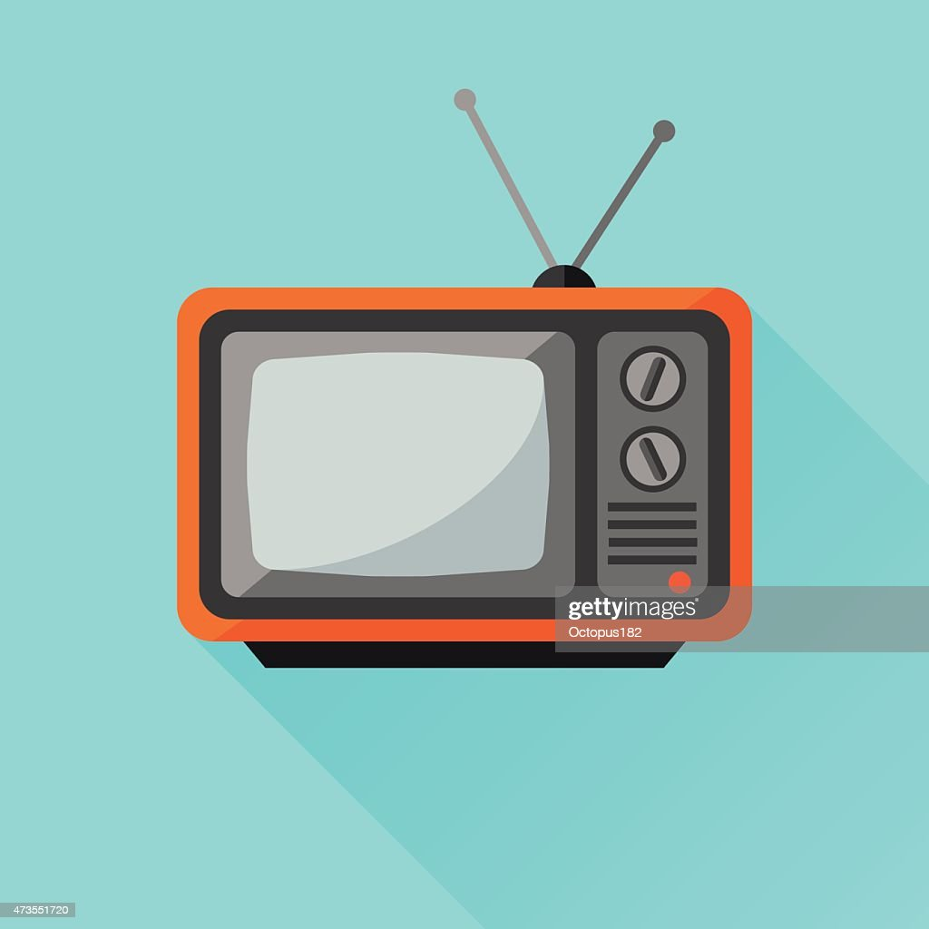Retro tv set flat icon