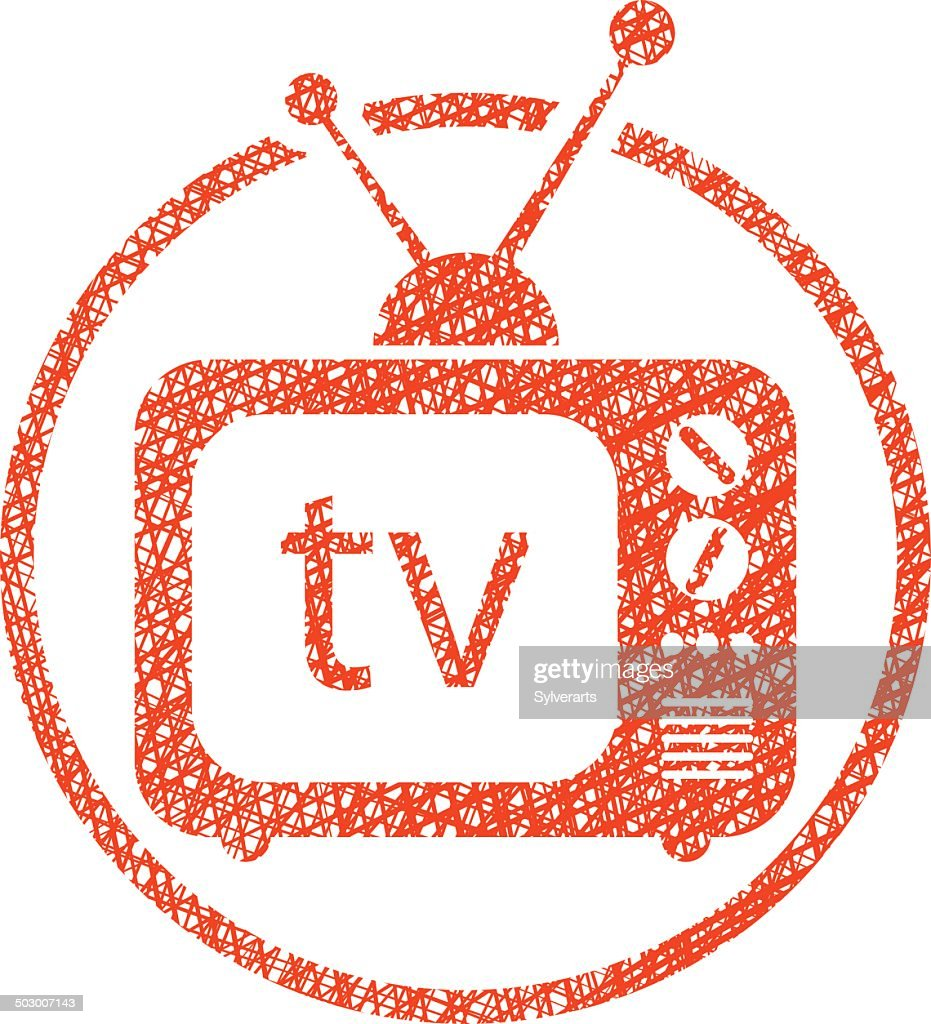 Retro tv set vector icon with hand drawn lines texture.