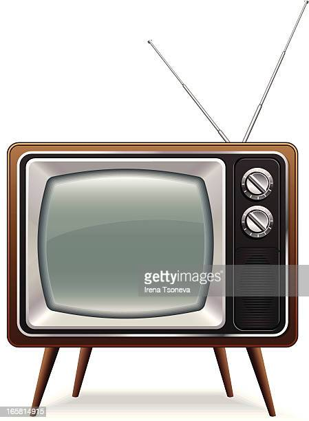 retro tv - television industry stock illustrations