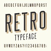 Retro typeface. Letters, numbers and symbols.