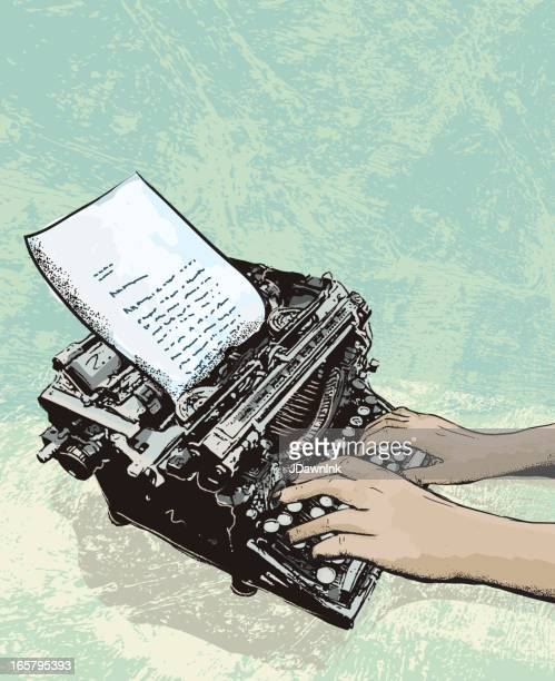 retro typewriter with letter and hands - authors stock illustrations