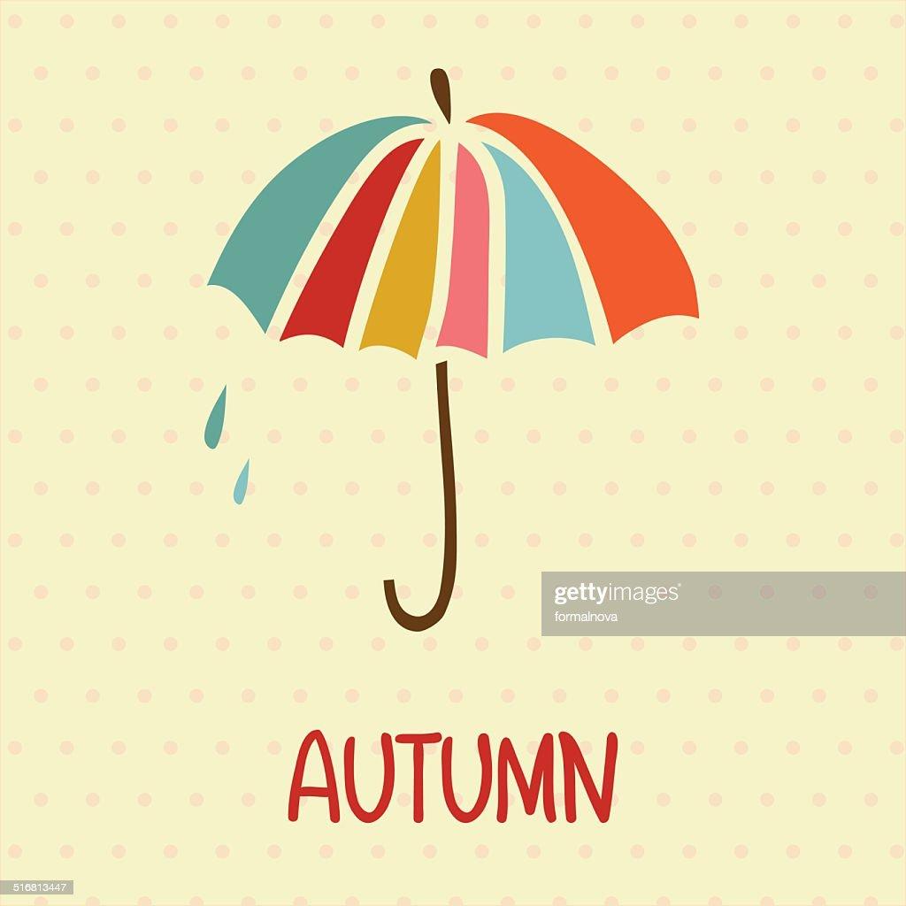 Retro Umbrella Symbol On Polka Dot Background Vector Art Getty Images