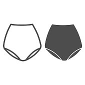 Retro underpants line and solid icon, clothes concept, underwear sign on white background, underpants icon in outline style for mobile concept and web design. Vector graphics.