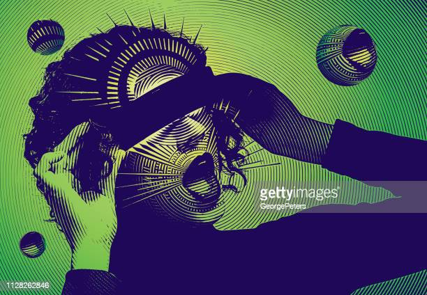 retro vector of a young woman and virtual reality simulator - multiple exposure stock illustrations