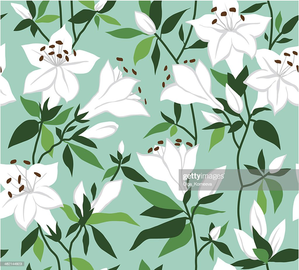 Retro vector seamless floral background with white flowers