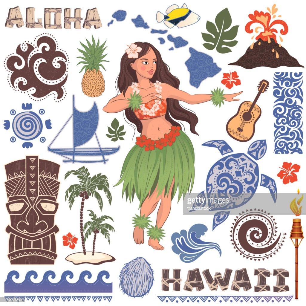 Retro vector set of Hawaiian icons