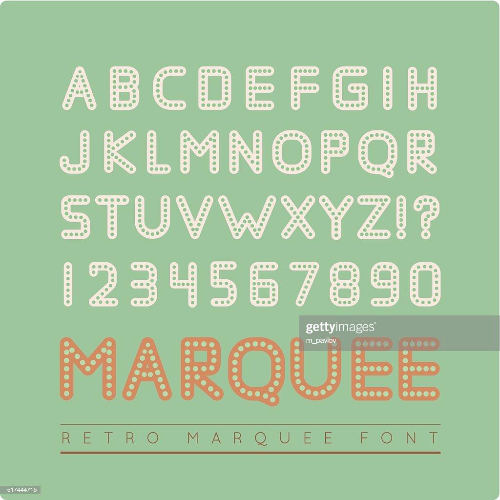 Retro vector vintage marquee font.