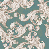 Retro vector wallpaper pattern with swirl floral element
