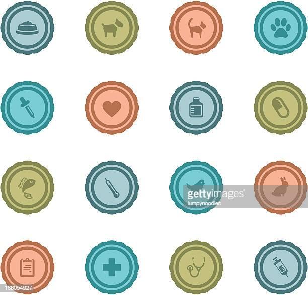 retro vet badges - cat food stock illustrations