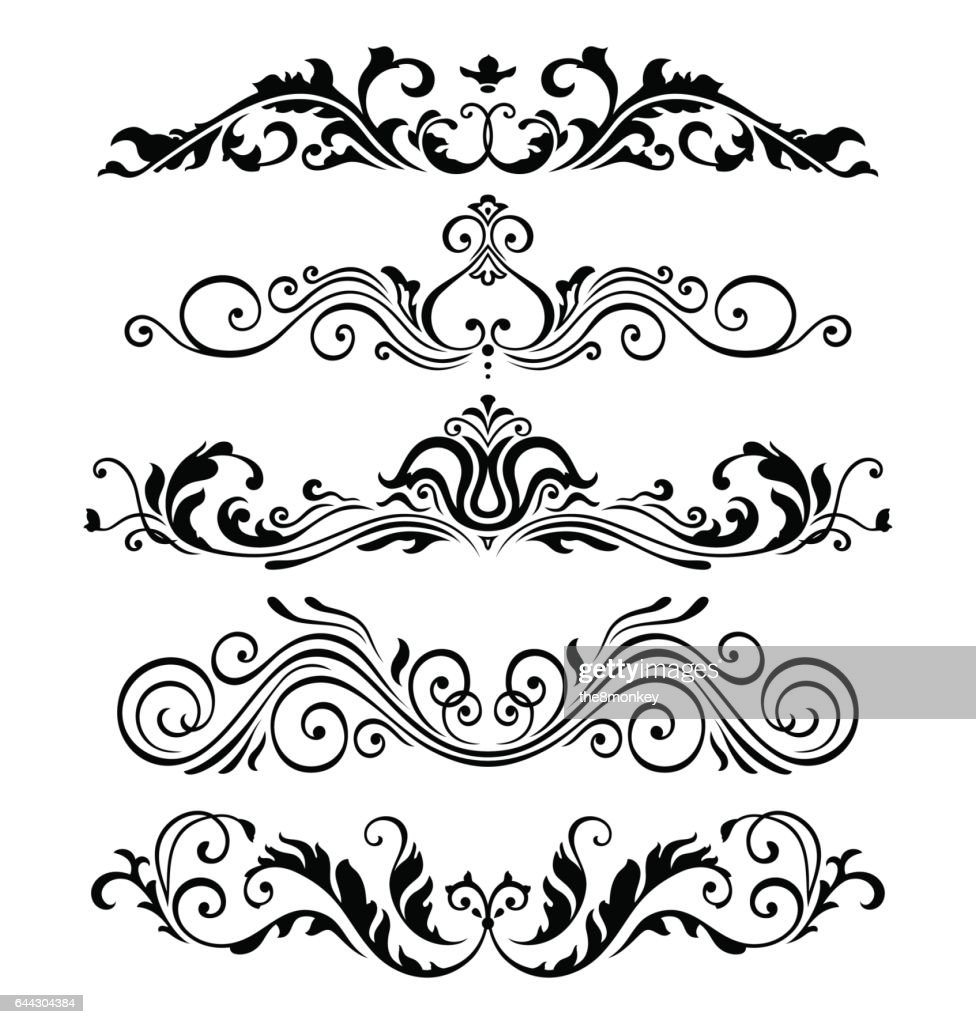 Retro victorian elements collection for Calligraphic Design. Genuine Floral Frame ellements