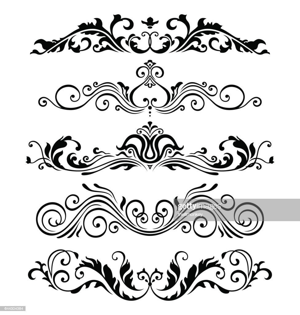 Retro victorian elements collection for Calligraphic Design. Genuine Floral Frame ellements