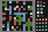 Retro video game.  User interface with tanks, terrain and obstacles