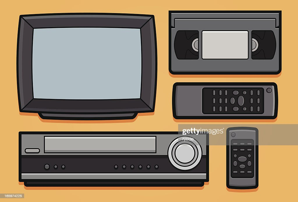 Retro Video Home System Tv Vcr Vhs And Remote Vector Art