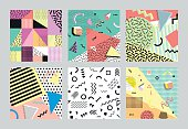 Retro vintage 80s or 90s fashion style. cards. Big