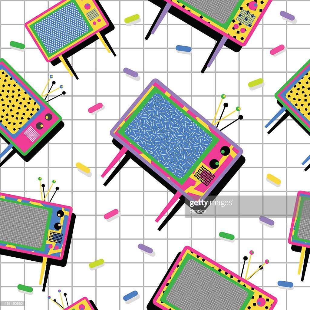 Retro vintage 80s tv seamless pattern background
