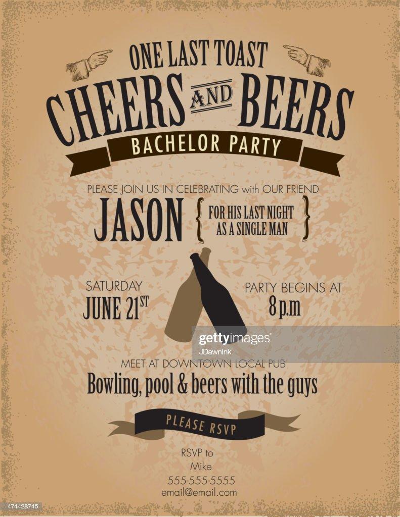 Retro Vintage Bachelor Party Invitation Design Template Vector Art ...