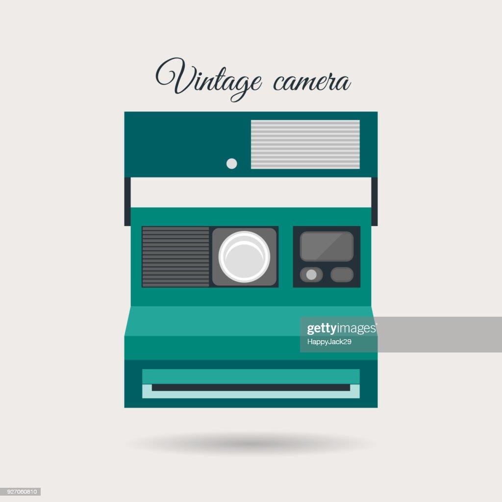 Retro vintage colorful camera icon. Creative old fashion vector illustration.