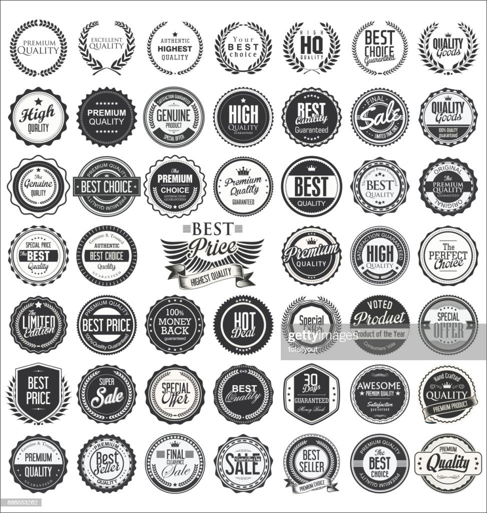 Retro vintage design quality badges vector collection