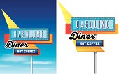 retro vintage diner, gasoline and hot coffee american roadside s