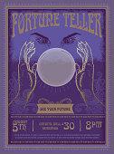 Retro vintage Fortune Teller poster advertisement design template