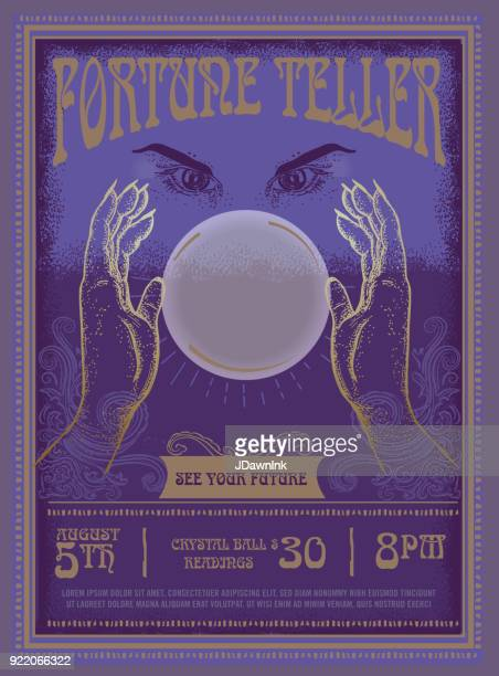 Retro vintage Fortune Teller poster advertisement design template