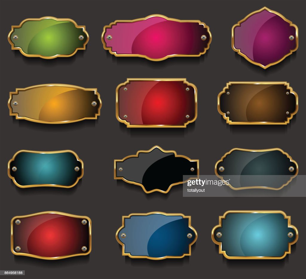 Retro vintage golden frames collection vector illustration