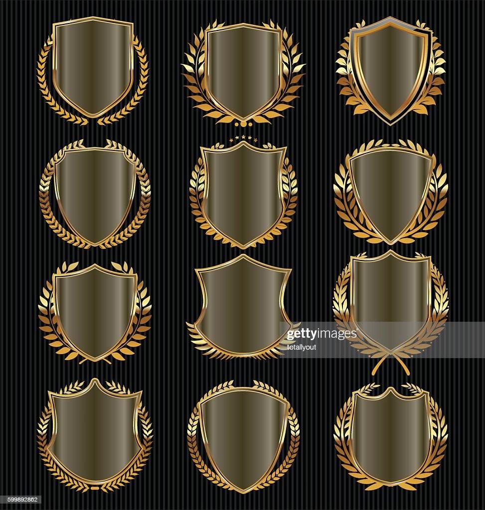 Retro vintage golden laurel wreath and shields collection