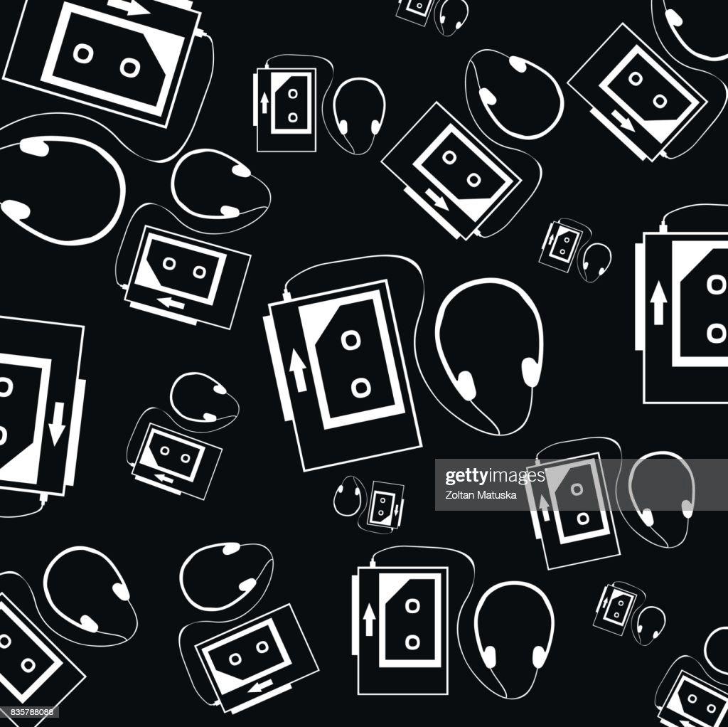 Retro Vintage Hipster Cassette Tape Background Black White