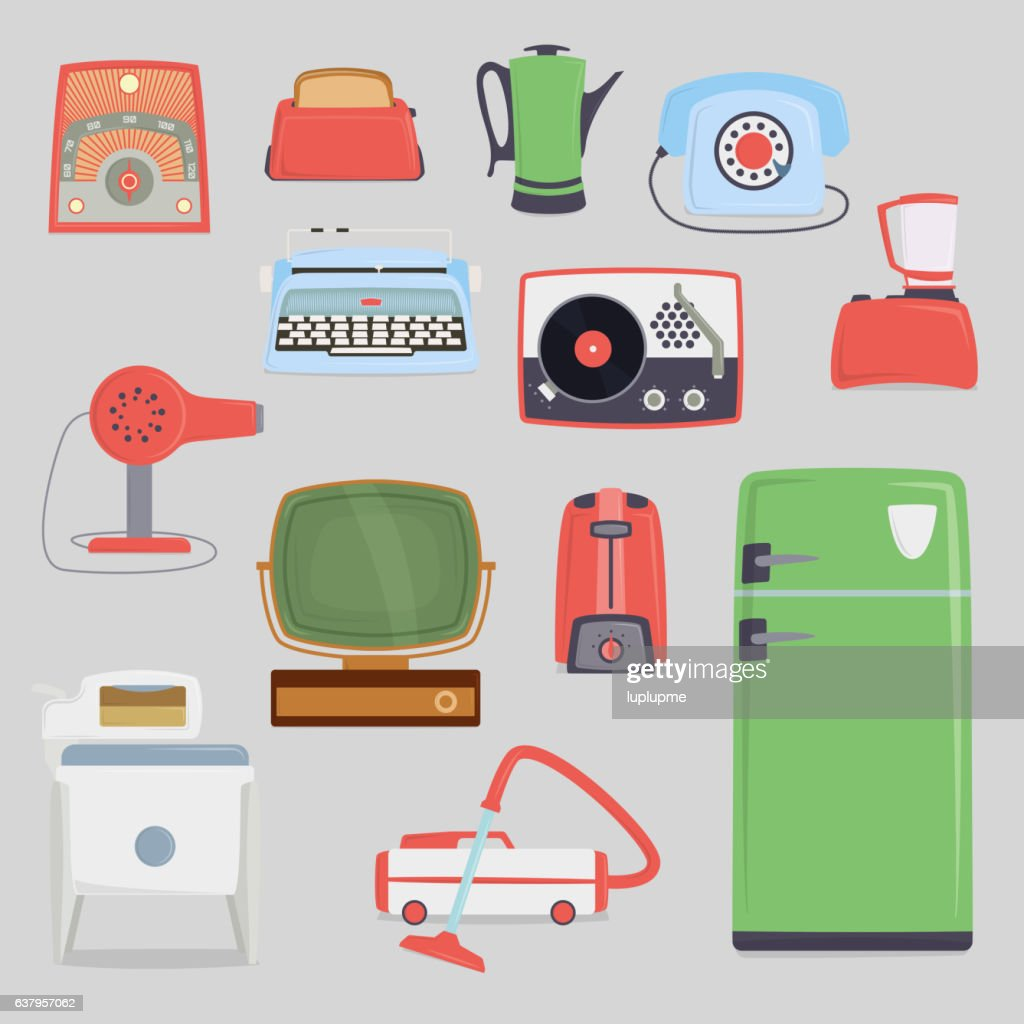 Retro vintage household appliances vector.