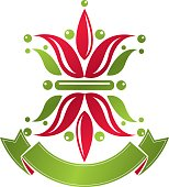 Retro vintage Insignia created with lily flower. Vector design element, organic natural product emblem.