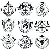 Retro vintage Insignias. Vector design elements. Coat of Arms