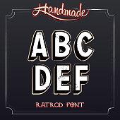 Retro Vintage Label Alphabet. Vector Grunge Font