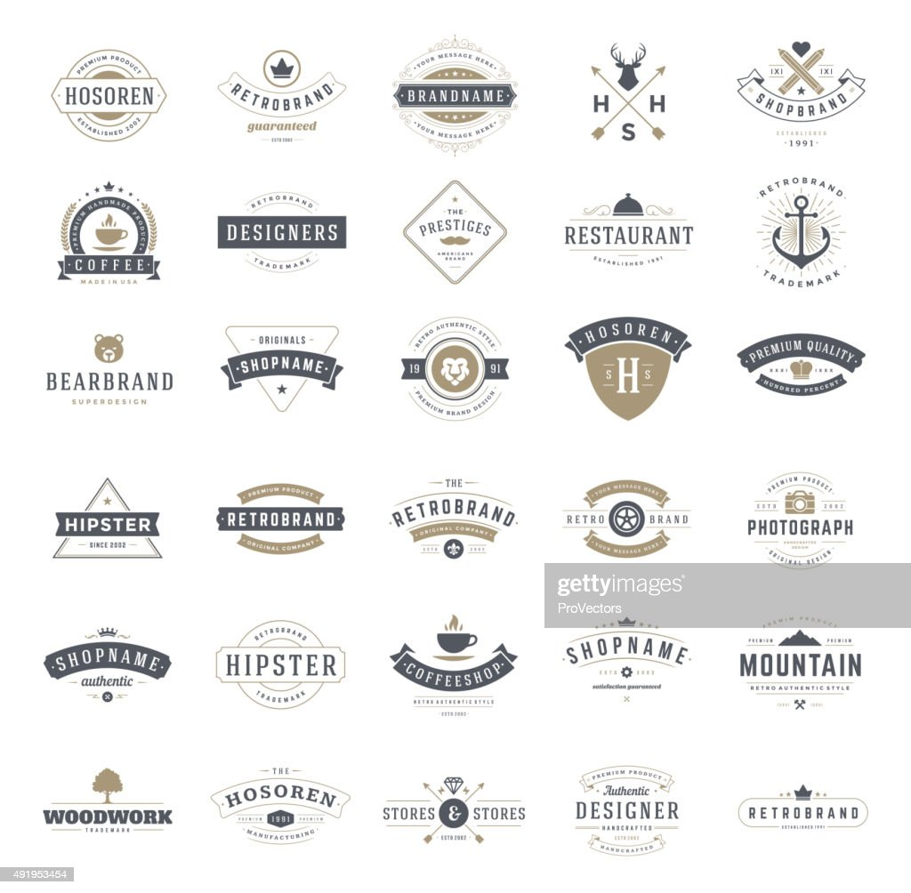 Retro Vintage Logotypes or insignias set. Vector design elements