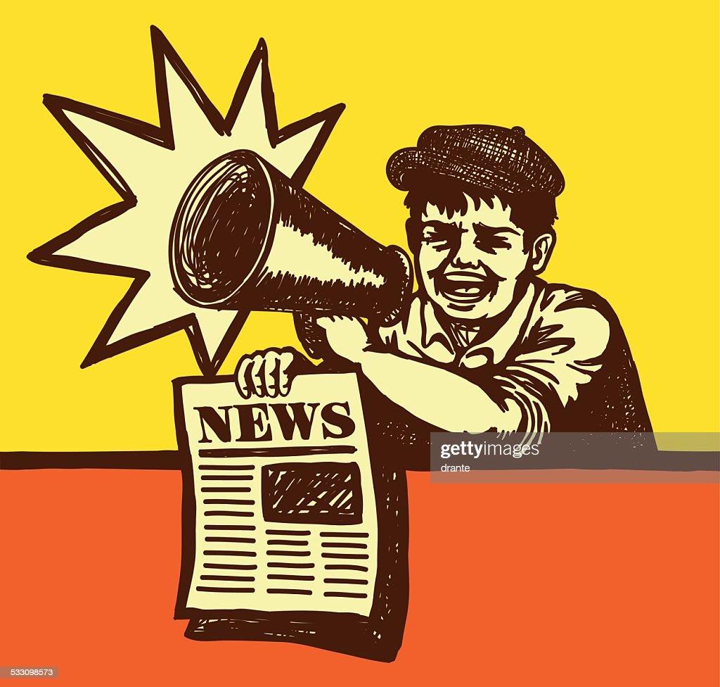 Retro vintage paperboy shouting with megaphone selling newspaper