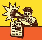 Retro vintage paperboy shouting with megaphone selling newspaper