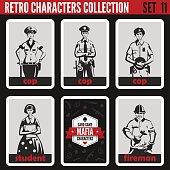 Retro vintage people collection. Mafia noir style. Cops, Student, Fireman.   Professions silhouettes.