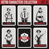 Retro vintage people collection. Mafia noir style. Madam, Prostitutes, Cops.  Professions silhouettes.