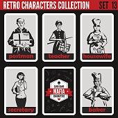 Retro vintage people collection. Mafia noir style. Postman, Teacher, Housewife, Secretary, Baker.   Professions silhouettes.