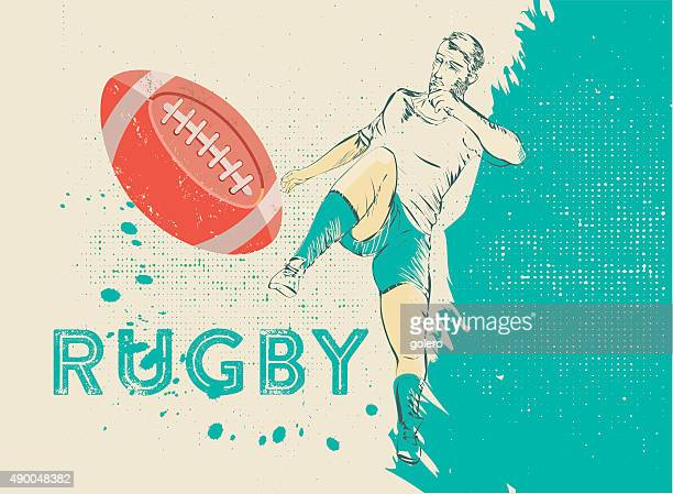 retro vintage rugby illustration - rugby ball stock illustrations, clip art, cartoons, & icons