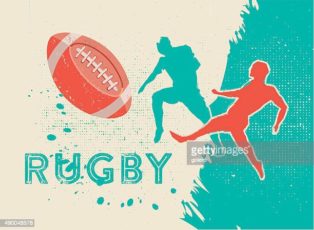 retro vintage rugby players fighting for the ball