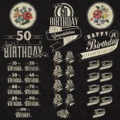 Retro Vintage style Birthday greeting card collection in calligraphic design