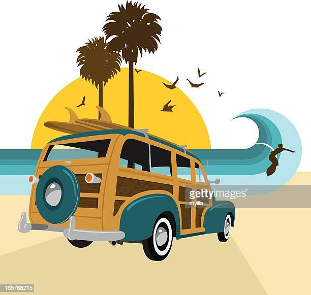 retro vintage surf.surf´s up series. woody, surfboard, summer, sea - surfing stock illustrations, clip art, cartoons, & icons