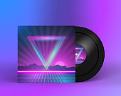 Retro Vinyl Record 1980s Style Cover with Neon Lights