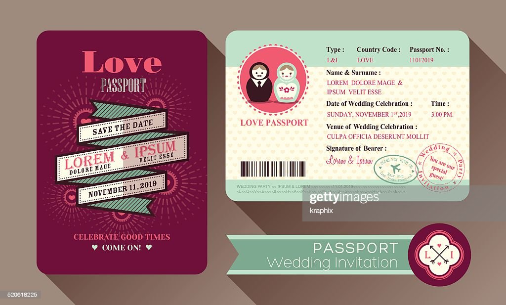 Retro Visa Passport Wedding Invitation card